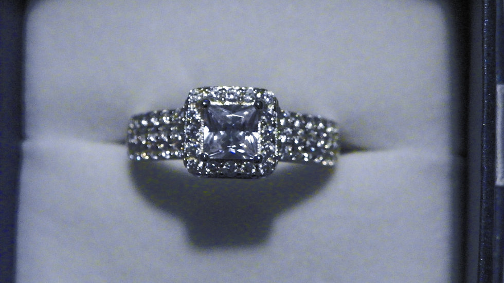 Princess Cut Pave set CZ ring in 925 Sterling Silver size 8