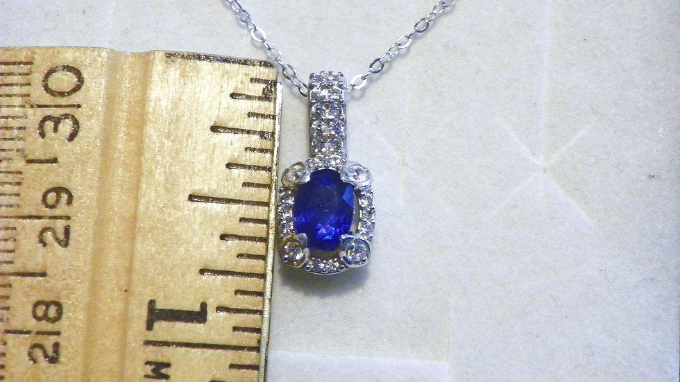 Blue Sapphire & Cambodian White Zircon halo pendant in Platinum/925 1.55 cts