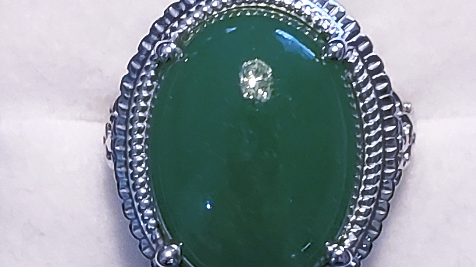 Burmese green jadeite ring in platinum over 925 sterling 18.30 cts size 8