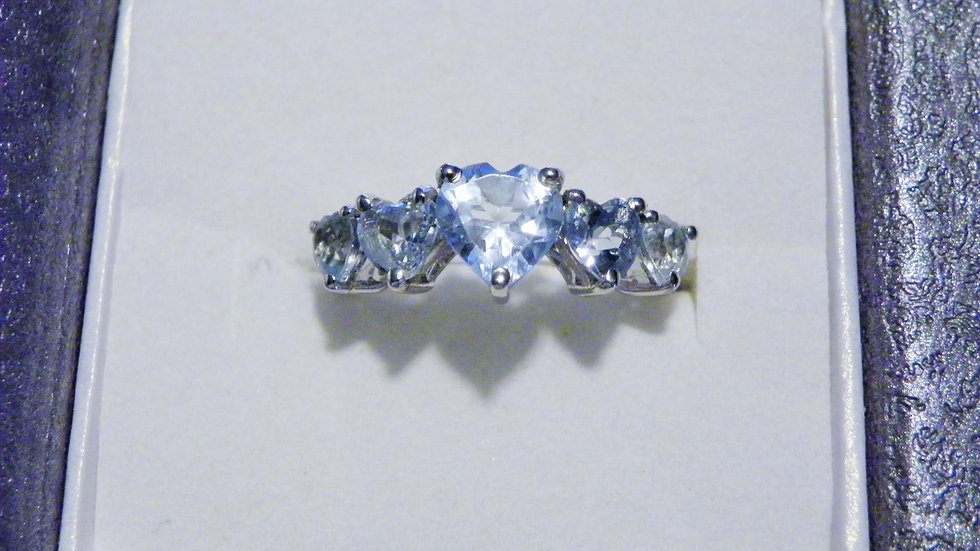 Blue Topaz 5 stone heart ring (3.40ct) in Platinum over Sterling sz 7
