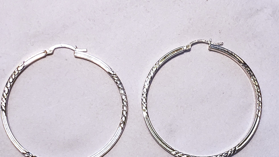 Light and thin 925 Sterling Silver hoop earrings 2 inches long