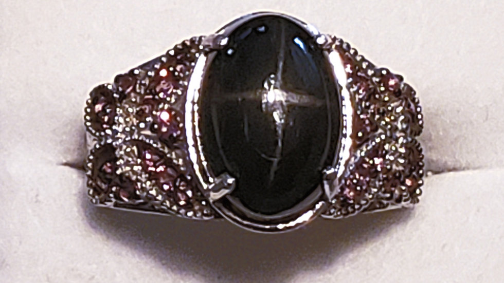 Black Star Diopside and Garnet ring in platinum/925 sterling 8.50 TCW sz 9