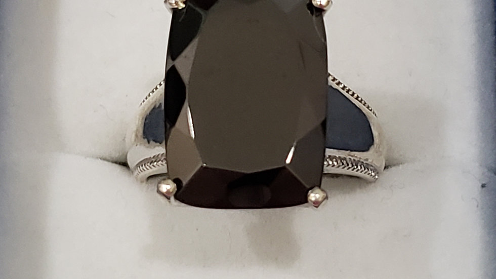 Elite Shungite 9.25 ct ring in Platinum over 925 Sterling Silver size 9