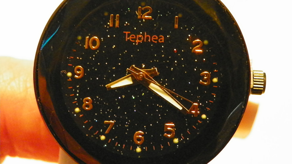 """""""Starry Night"""" face black ladies watch w/ rose gold numbers"""