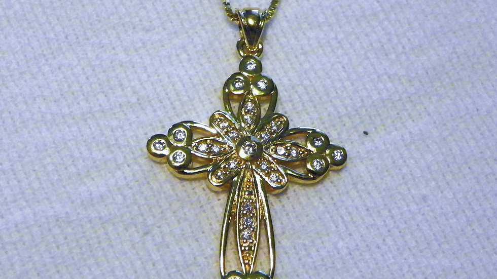 Cubic Zirconia Cross Pendant in 14K YG/ 925 w/ 18 inch 925 chain