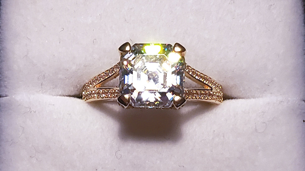 Strontium Titanate & White Zircon ring 6.22 tcw 18ct YG over 925 sz 8