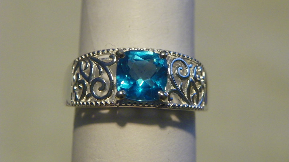 Paraiba Topaz ring in ornate 925 Sterling Silver 1.25 cts sz 7