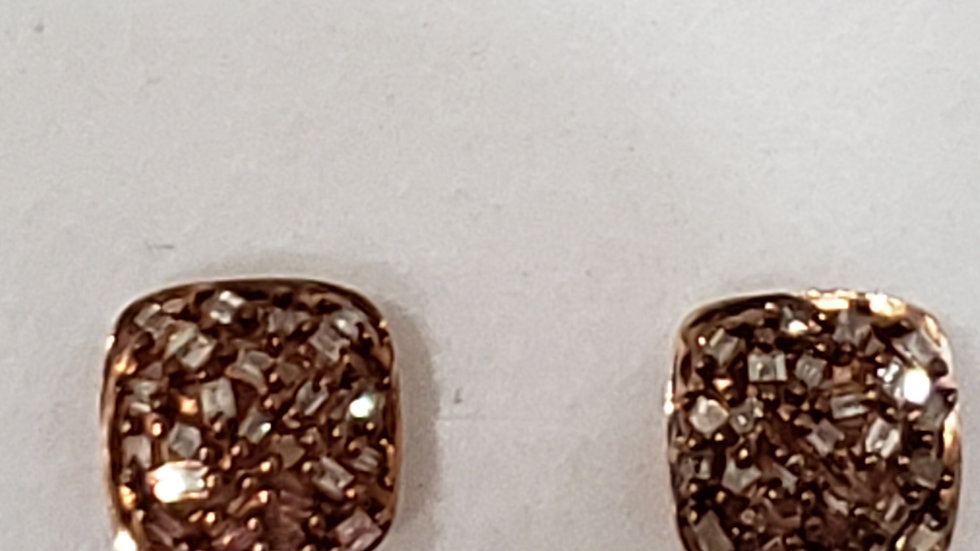 NaturalChampagne Diamond stud earrings in 14K Rose Gold over 925 Sterling Silver