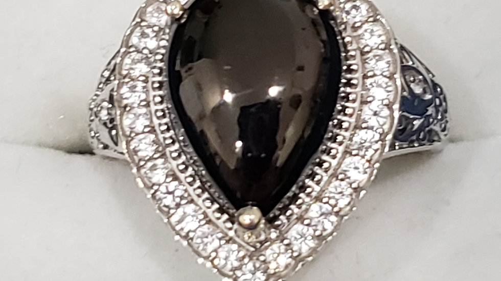 Shungite & Zircon halo ring in Platinum over 925 Sterling 3.85 cts sz 7