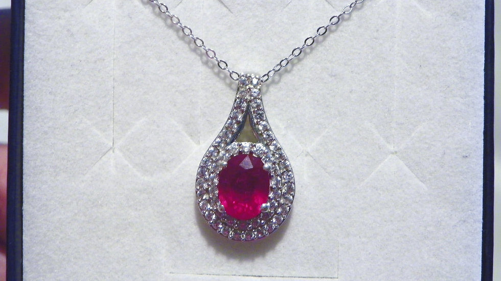 Ruby & Cambodian White Zircon 3.43ct halo pendant in Plat/over 925 w/20 in chain