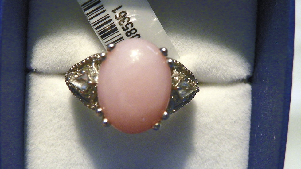 Peruvian Pink Opal, Zircon & Topaz ring in Platinum over 925 7.30 cts sz 9