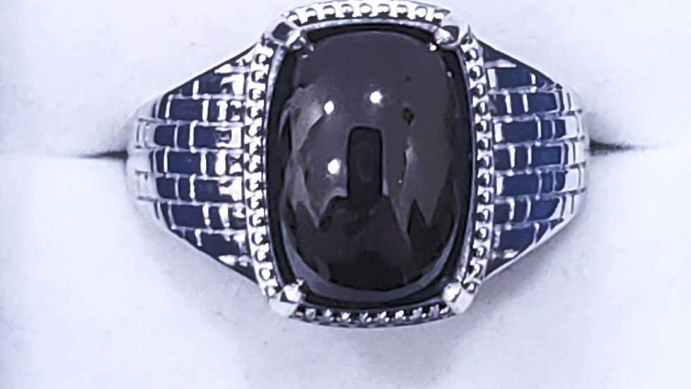 Men's Shungite ring (4.65ct) in Platinum over 925 Sterling Silver size 8