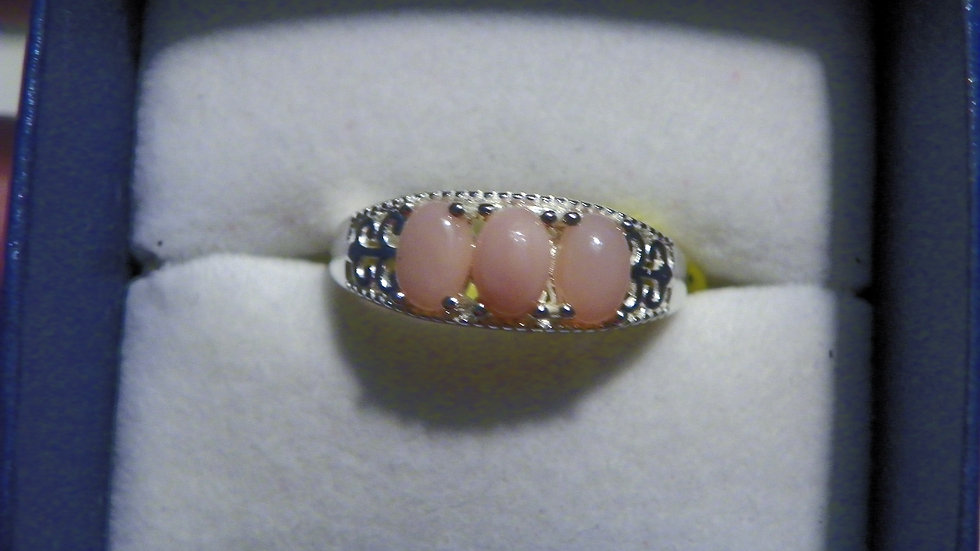 Pink Opal ring 1.00 cts set in 925 Sterling Silver size 6