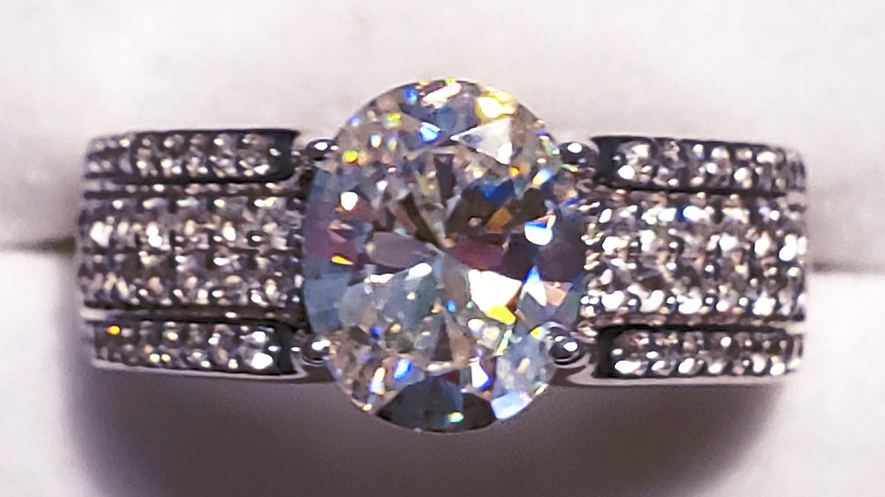Strontium Titanate & White Zircon ring 4.13 tcw Rhodium over 925 Sterling sz 10