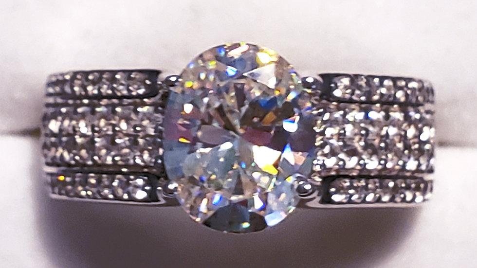 Strontium Titanate & White Zircon ring 4.13 tcw Rhodium over 925 Sterling sz 10