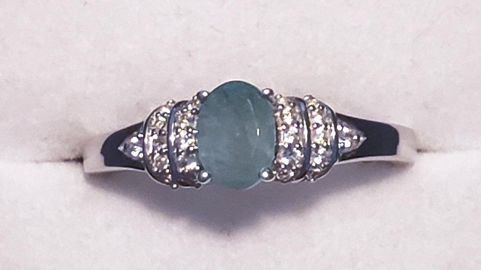 Grandidierite & White Zircon ring 1.00 ct in Platinum/925 Sterling size 9