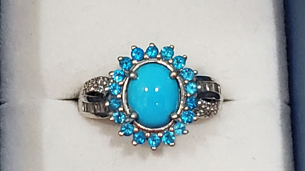 Natural Sleeping Beauty Turquoise, Zircon & Neon Apatite halo ring in Plat/925