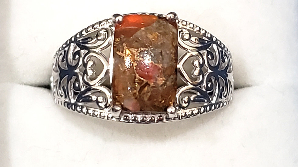 """""""Simply Solitaire"""" Matrix Fire Opal ring Platinum bonded brass 2.80 cts size 9"""
