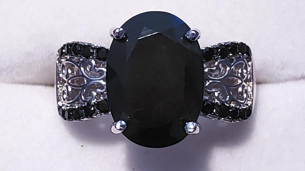 Black Jade & Thai black spinel ring in black rhodium & 925 sterling sz 8
