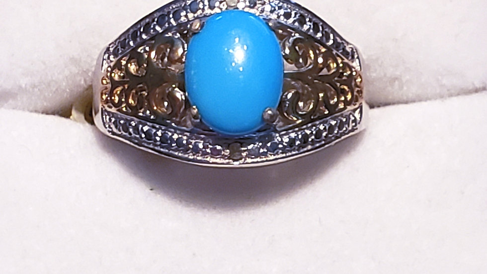 Sleeping Beauty Turquoise & Dia ring in 14K YG & Platinum over 925 sz 7