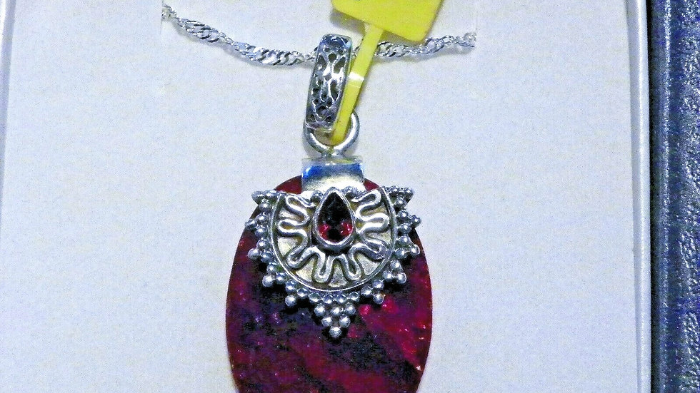 """Artisan Crafted Faceted Ruby & Garnet pendant (39.02 cts) in 925 w/20"""" chain"""