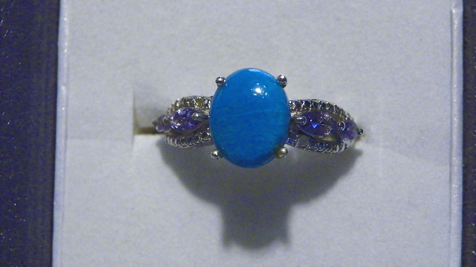 Sleeping Beauty Turquoise & Tanzanite ring in Platinum over 925 sz 7