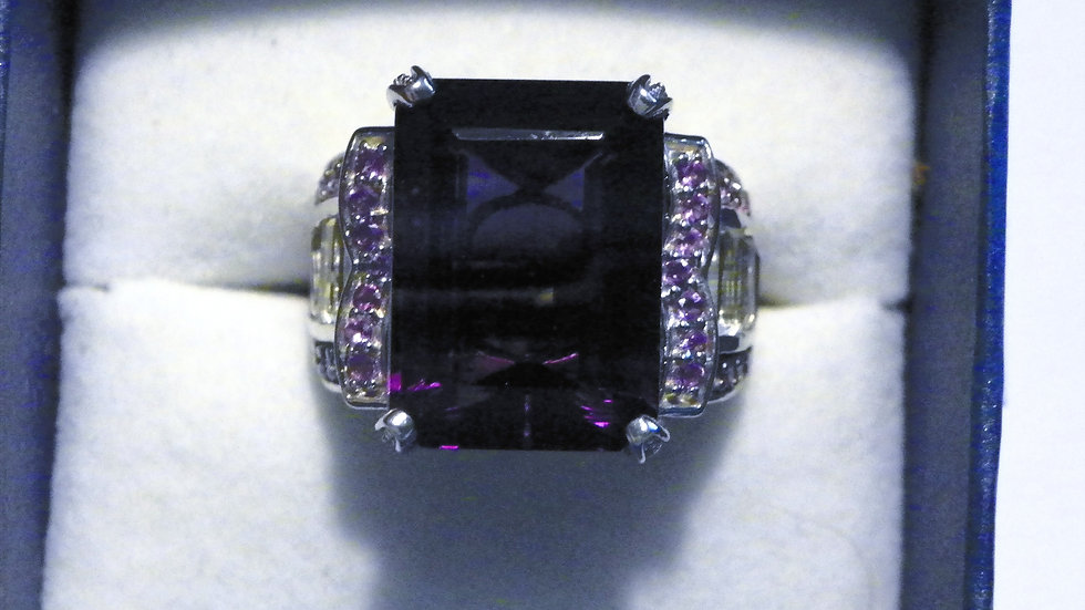 Bi-color Fluorite Amethyst & White Topaz ring (23.78ct) in Platinum/925 sz 8