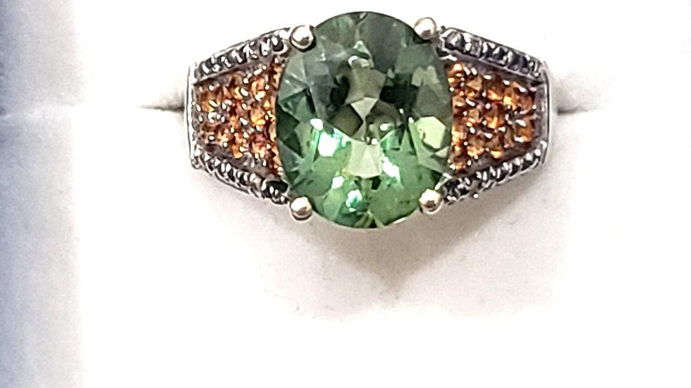 Green Mystic Topaz, Orange Sapphire & diamond accent ring sz 8 6.32 cts