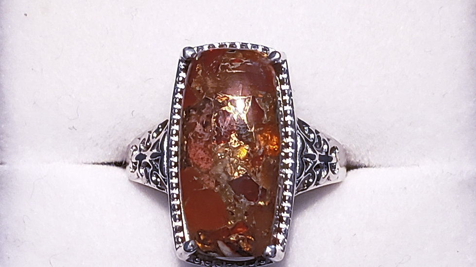 Matrix Fire Opal in Platinum over 925 Sterling 18x9 mm Cabochon Cushion sz 6
