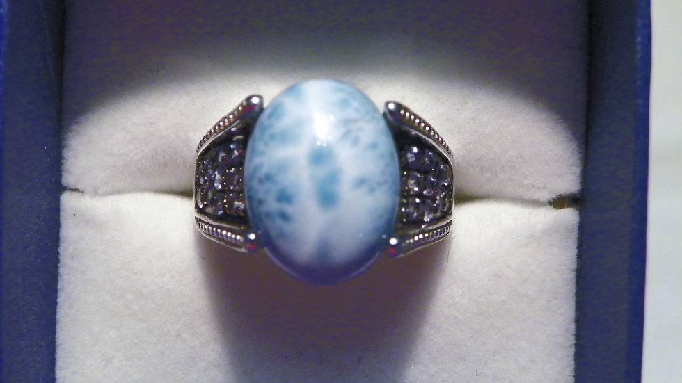 Larimar and Tanzanite ring (10.10 cts) in Platinum over 925 Sterling sz 8