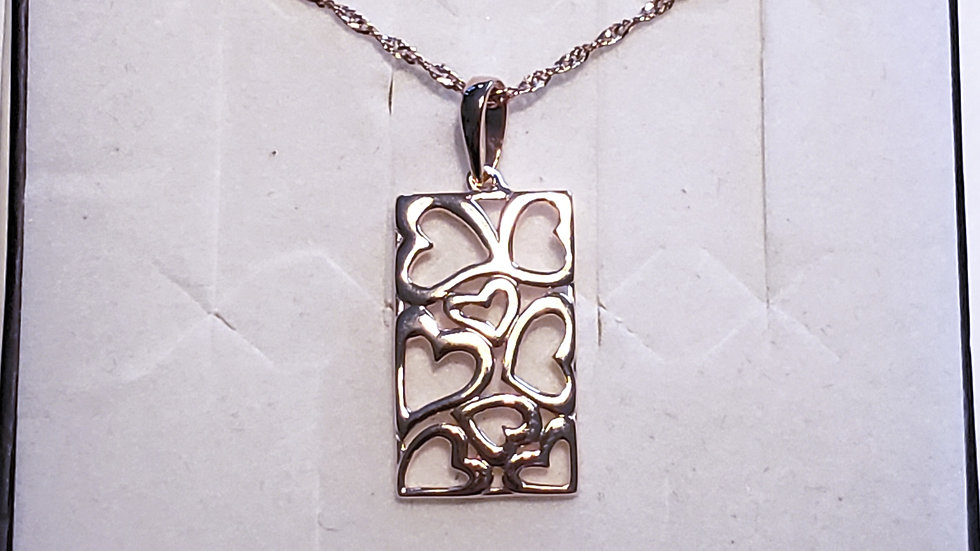 Italian 14K Rose Gold over 925 sterling silver hearts necklace 20 in