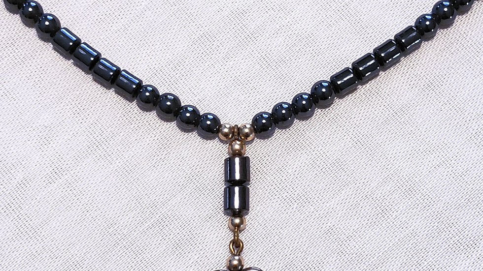 Vintage Hematite heart necklace 16 inch choker with adjustable catch