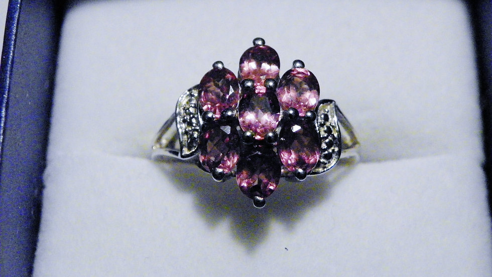 Rare Malayan Garnet (3.20cts) ring in Platinum over Sterling silver size 7