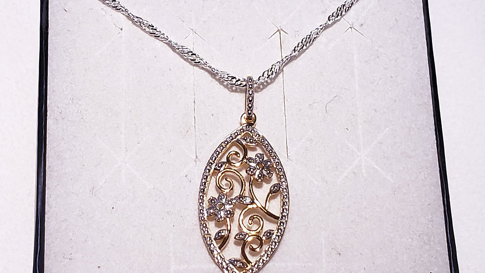 Diamond Accent pendant in 14K YG over 925 and sterling silver w/20 inch chain