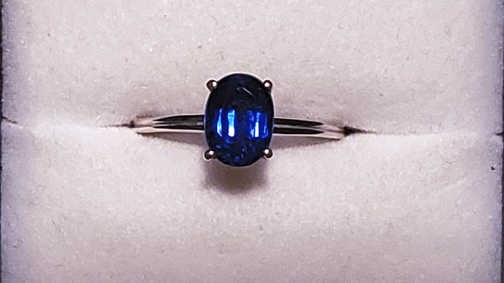 """Simply Solitaire"" Himalayan Kyanite promise ring in Plat/925 SS sz 7 1.75 cts"