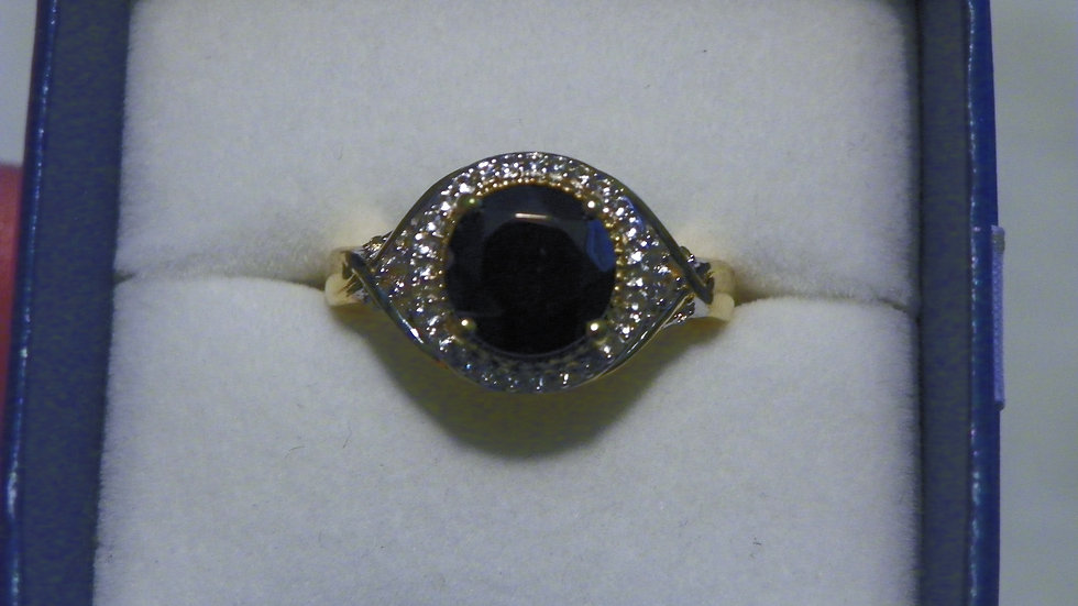Shungite & Cambodian Zircon ring in 14K YG over 925 Sterling sz 8 2.21 cts
