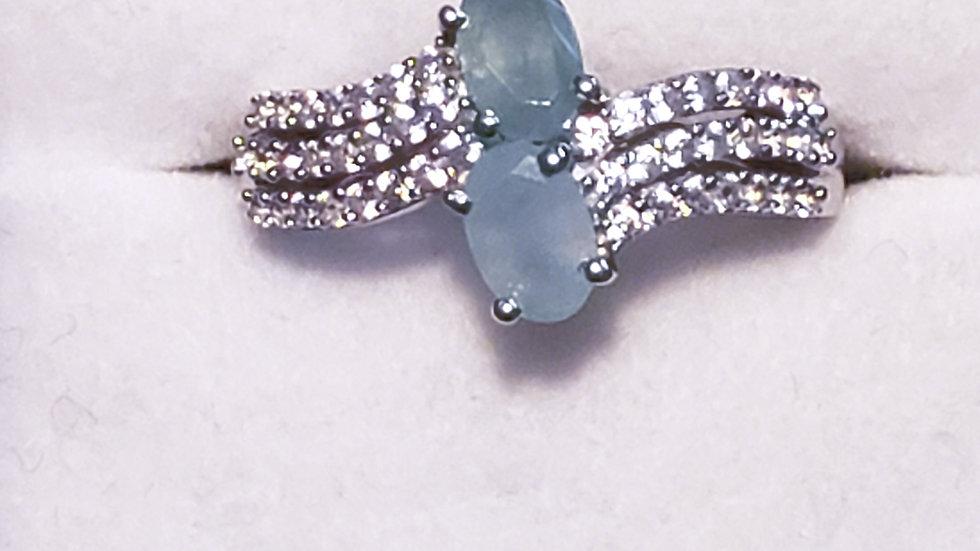 Grandidierite & White Zircon bypass ring 1.30 ct in Platinum/925 Sterling size 6