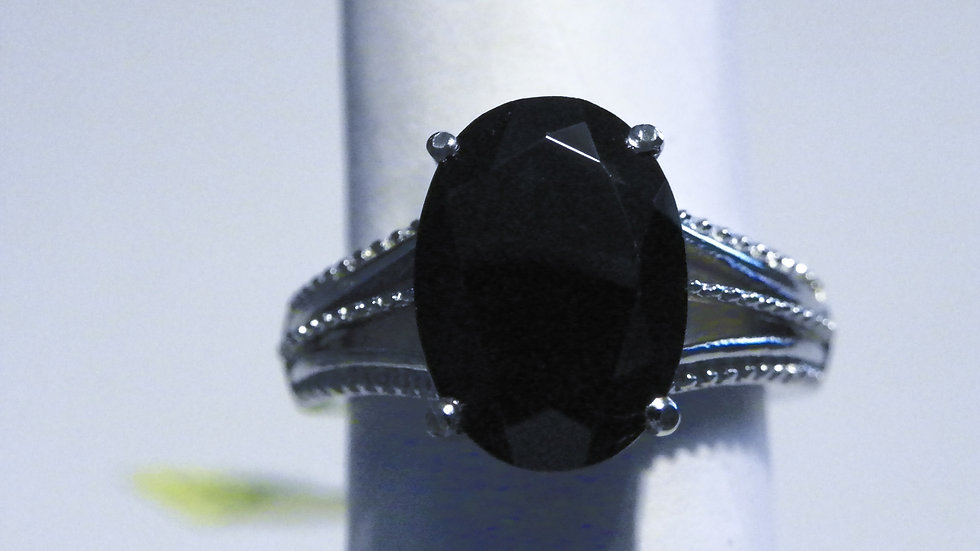 Thai Black Spinel (7ct) set in 316L Surgical Stainless Steel setting size 7