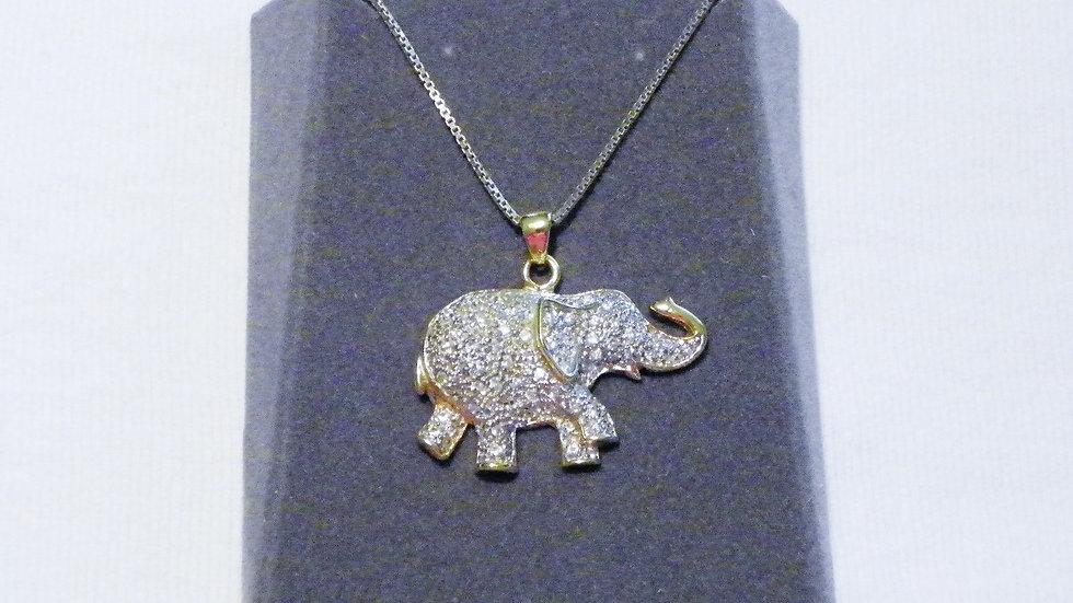 "Vintage 925 Silver cubic zirconia elephant necklace 20"" w/chain & original box"