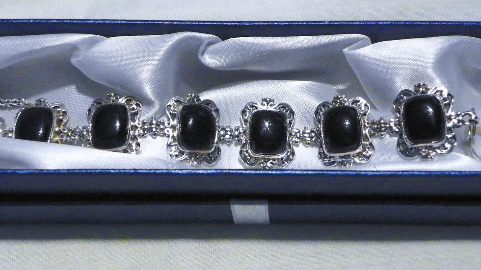 Burmese Black Jadeite bracelet 34.35 ct 6.75 in 925 Sterling Silver