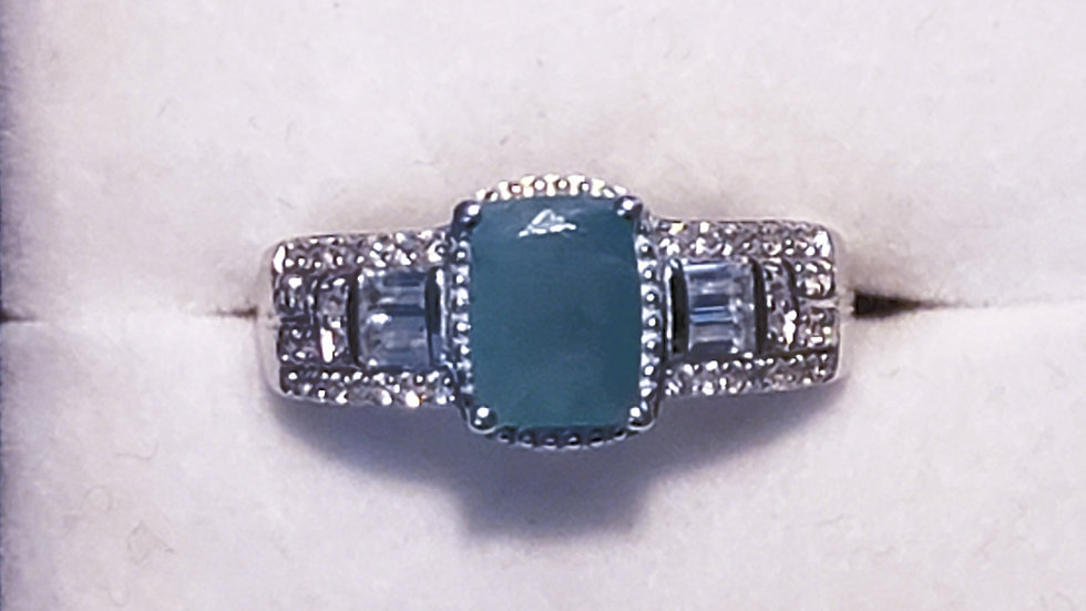 Grandidierite & White Zircon ring in platinum over 925 sz 7 2.11 tcw