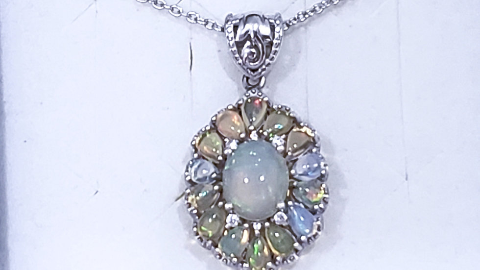 Welo Opal & White Zircon Necklace in Platinum over 925 sterling Silver 3.50 cts
