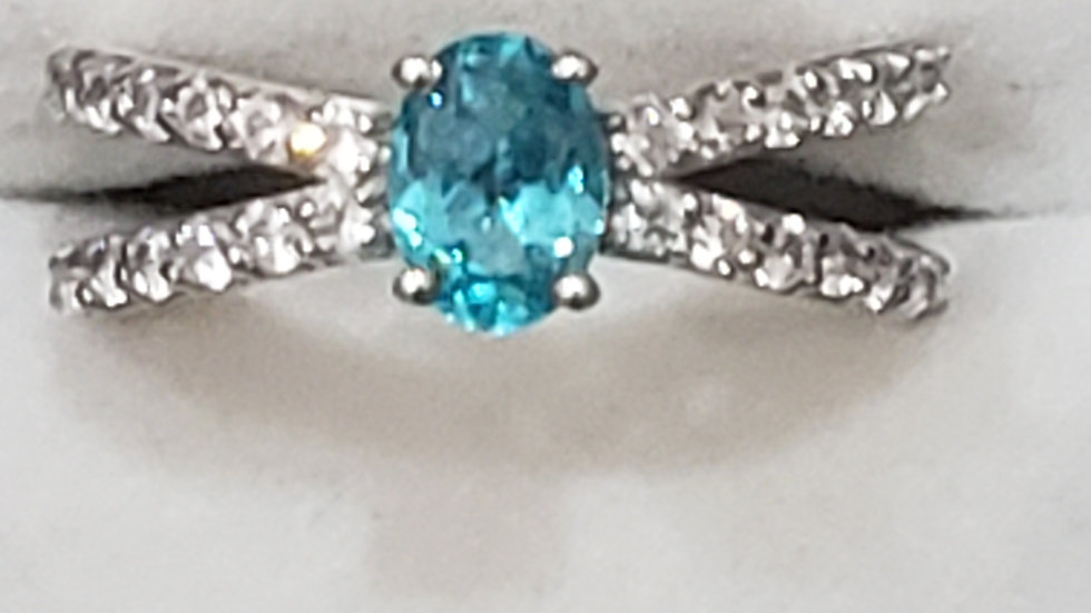 Paraiba Apatite & Zircon open space ring in platinum over 925 1.65 cts sz 7