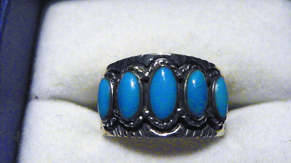 Kingman Turquoise band ring (1.50 ct) in 925 Sterling Silver size 8