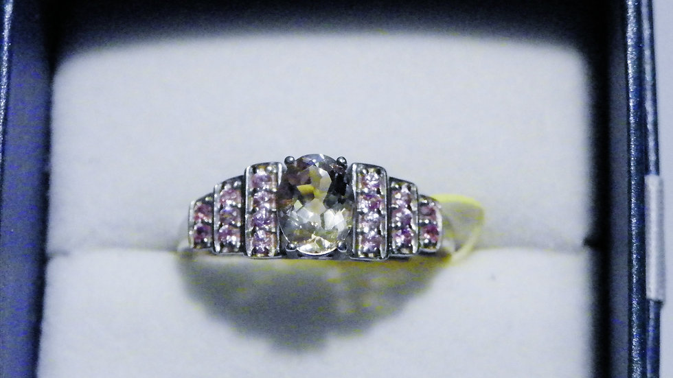 Marropino Morganite(1.10ct)& Pink Sapphire(.40ct)ring in Platinum over 925 sz 10