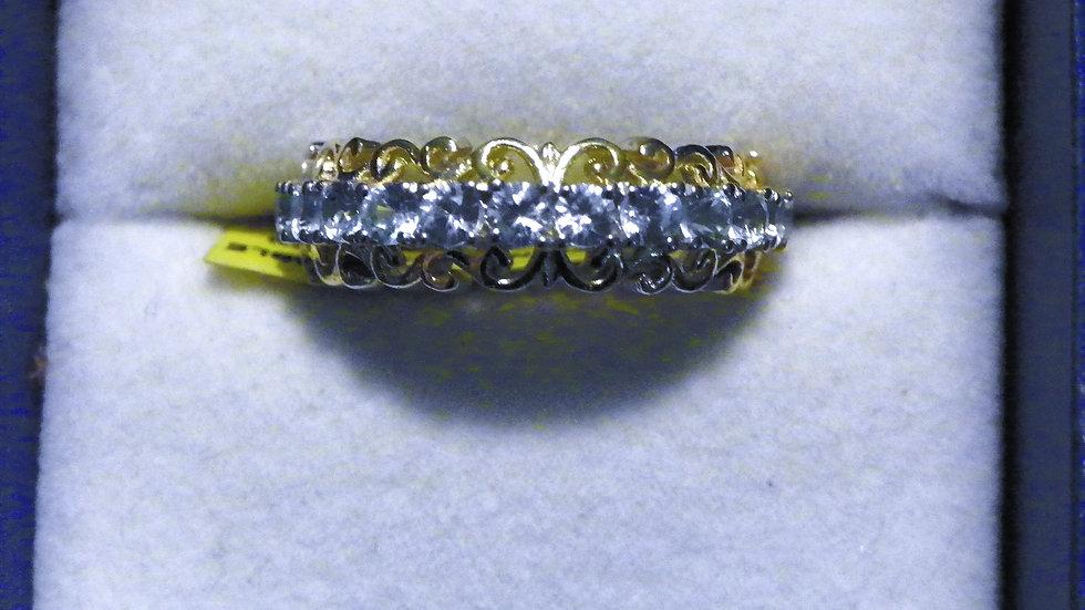 Light Cambodian Blue Zircon band ring (1.80 ct) in 14K YG & Plat/925 sz 7