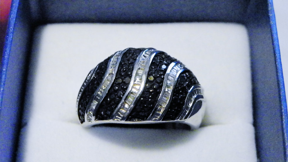 Black & White Diamond cocktail ring in Platinum over 925 Sterling .33 cts sz 9