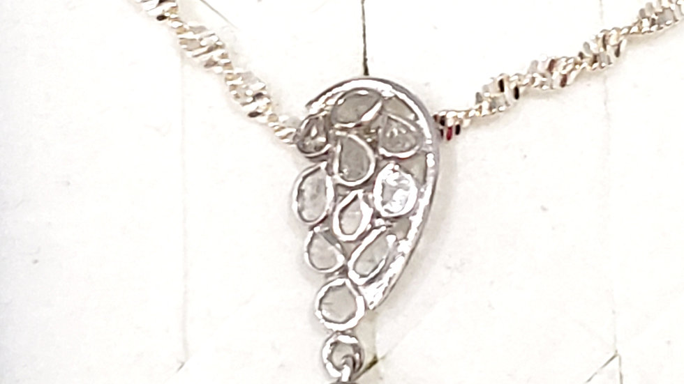 Polki Diamond necklace 20 in in Platinum over 925 Sterling Silver .50 tcw