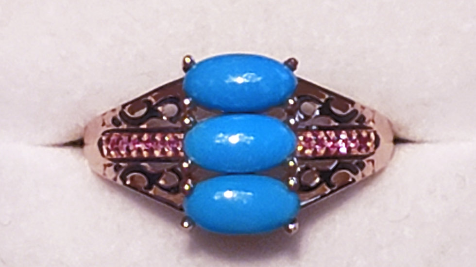 Sleeping Beauty Turquoise & natural pink sapphire ring in 14K RG/925 SS 2.1 ct