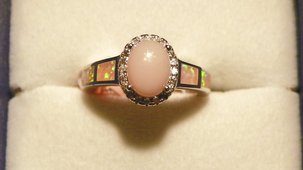 Peruvian Pink Opal, Lab Created Pink Opal & Zircon ring 1.40ct in 925 SS size 5